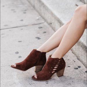 LUCKY BRAND peep toe suede brown booties